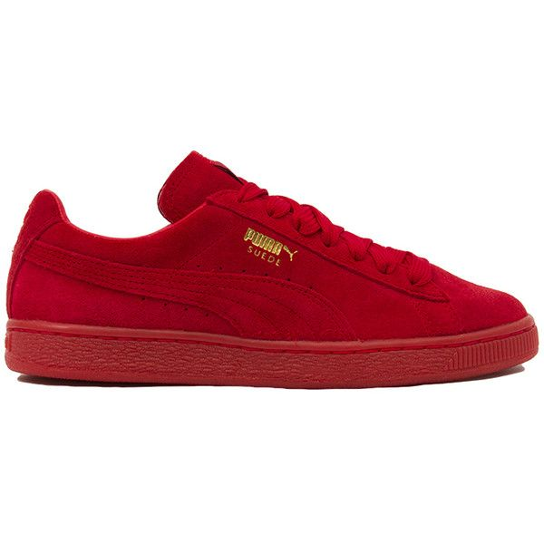 Puma Suede Classic + Mono Iced Sneakers - High Risk Red ($65) ❤ liked on Polyvore featuring shoes, sneakers, puma, high risk red, suede leather shoes, suede sneakers, red suede sneakers, round cap и cushioned shoes