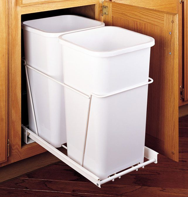 Rev A Shelf Rv 15pb 2s On Sale Now Double 27qt Pullout Waste Container W Full Extension Drawer Slides White Polymer The Hardware Hut Rev A Shelf Waste Container Trash Can Cabinet