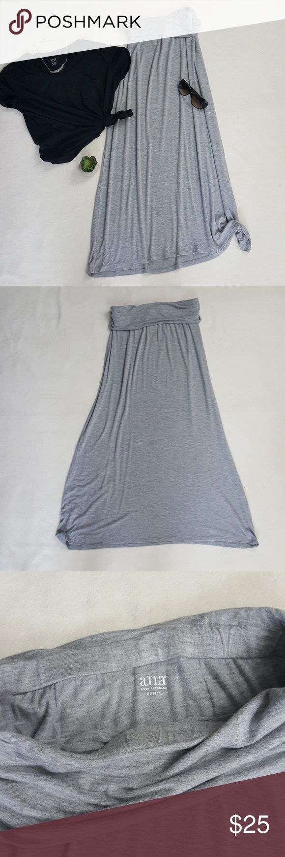 "Heather Gray Maxi Skirt Worn only once!! All it needs is a top knot, cute tan sandals and you Heather grey maxi skirt in a PETITE size/ length.   Skirt has a 1"" elastic strip sewn into waist.  I'm 5'1"" and this hits at the top of my feet. Measurements: *Waist (unstretched) 14.5"" ; 4.5"" fold over waistband. *Length: 35"" Approx. Fabric: * 95% Cotton, 5% Spandex Necklace available in my closet. a.n.a Skirts Maxi"