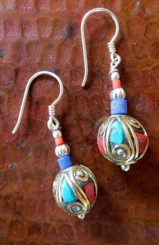 Tibetan Single Bead Earring with Sterling Silver
