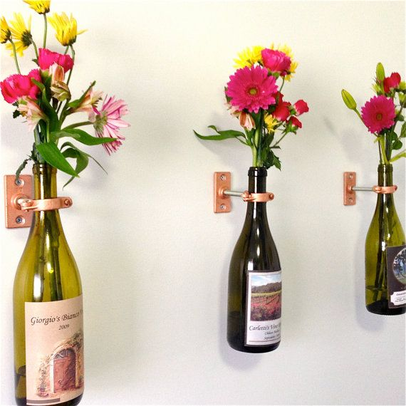 HARDWARE ONLY - 2 Wine Bottle Wall Flower Vase Kits - copper, silver or iron hardware - DIY - hostess gift on Etsy, $24.00