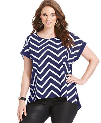 Eyeshadow Plus Size Short-Sleeve Striped Cutout-Back Top - Plus Size Tops - Plus Sizes - Macy's