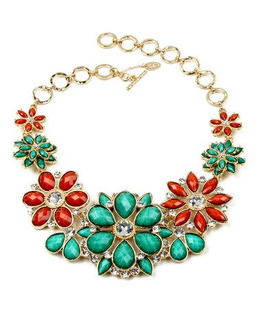 Love this Turquoise & Coral Paragano Bib Necklace by Amrita Singh on #zulily! #zulilyfinds