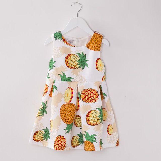 Moda Bobo Choses vestido da menina de verão 2016 sem mangas Ananas crianças crianças vestido de verão High End vestido de princesa menina roupa dos miúdos