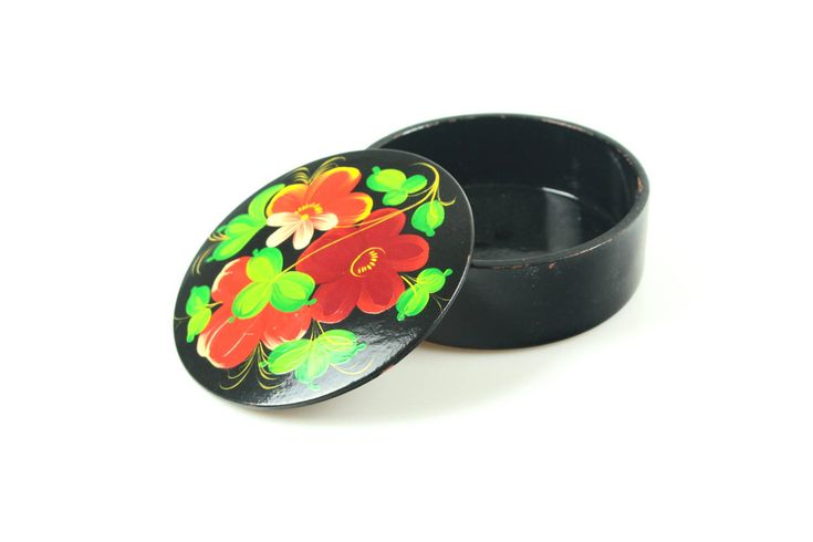 Excited to share the latest addition to my #etsy shop: Vintage Jewelry Box Fresh colors, Small Trinket Russian Floral Folk art, Round Handpainted Treasury Box, Tiny Rustic style Round box http://etsy.me/2Cr7seW #furniture #storage #housewarming #mothersday #wood #treas