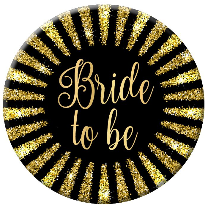 Bride To Be Badge with Gold Glitter