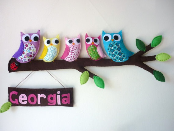 Personalized Owl Family of 5  Wall Hanging Door by MaisieMooNZ, $115.00