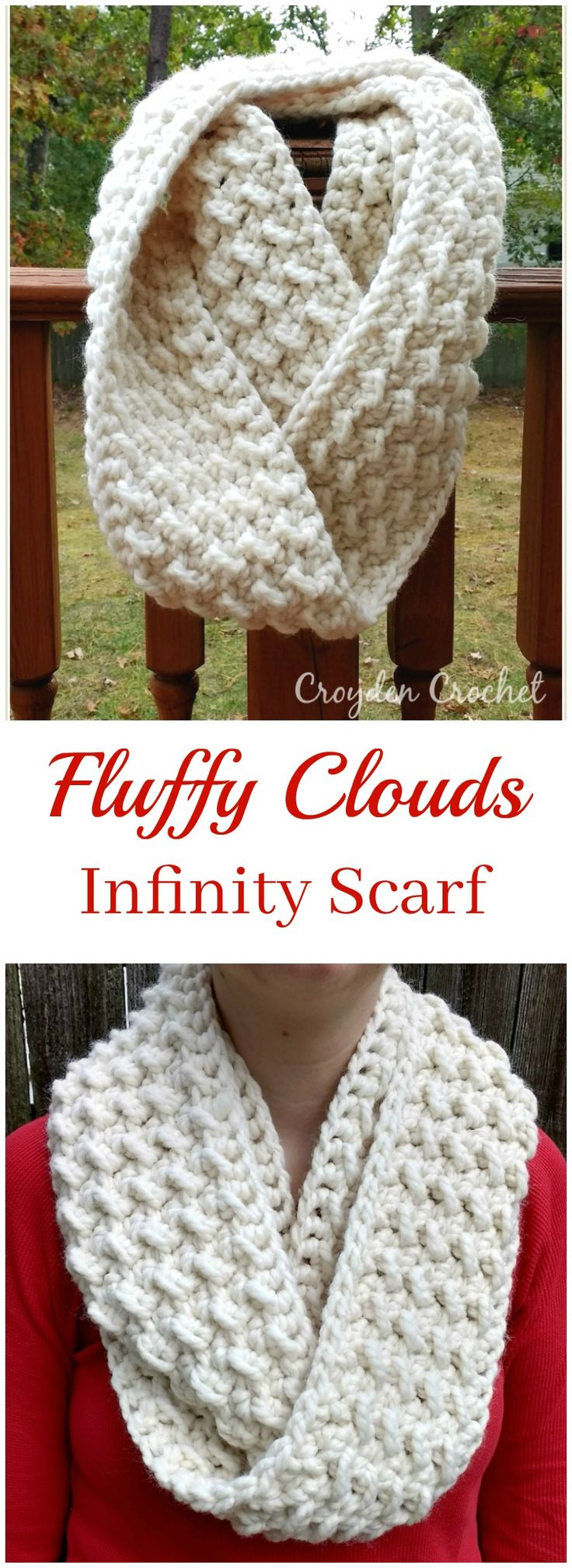 Fluffy clouds infinity scarf pattern #crochet