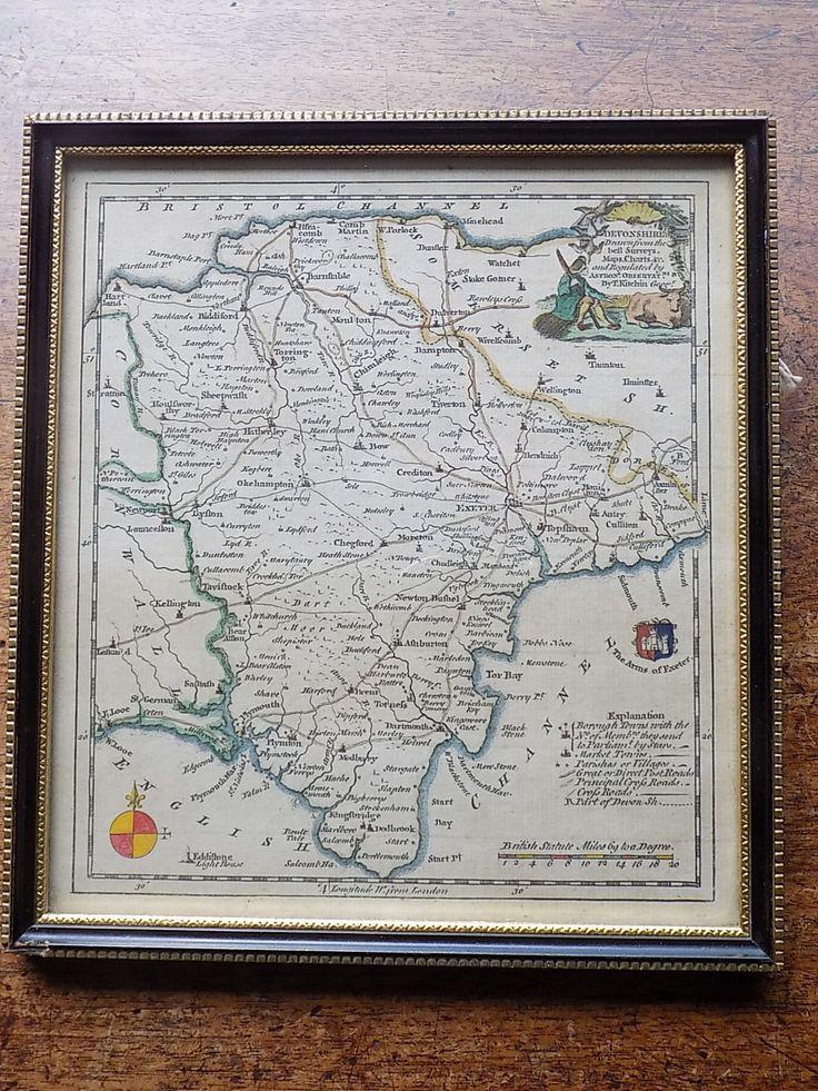 North America Map In 1750%0A      Kitchin Map Devon Devonshire Old Antique Framed England UK London  Magazine