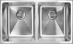 """fluid Model TDR3219 Tight Radius Double Bowl Stainless Steel Kitchen Sink - Overall size 32"""" X 19"""" X 9""""."""