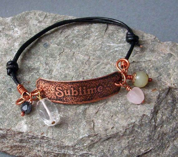 SUBLIME Hand Etched Copper & Leather Bracelet by studiovdesigns