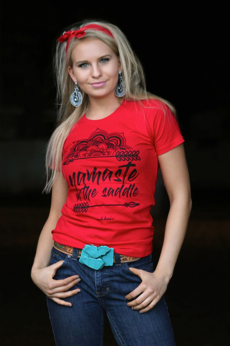 NAMASTE IN THE SADDLE (RED TEE)
