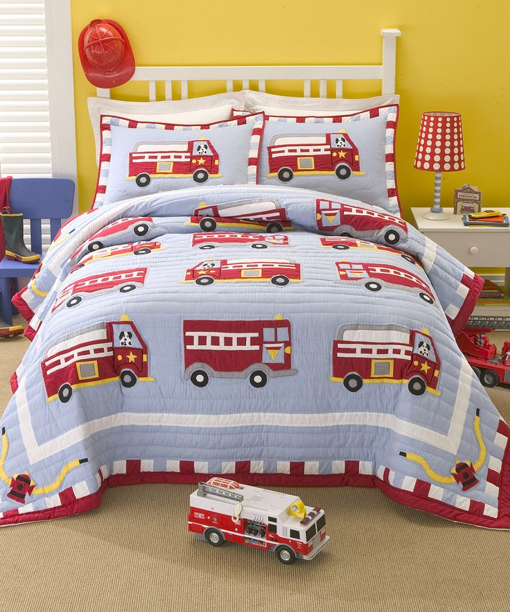 Your future firefighter is bound to enjoy this fun appliqued three-piece quilt set covered with whimsical fire trucks. The soft texture of this patchwork quilt set feels great against the skin, and th