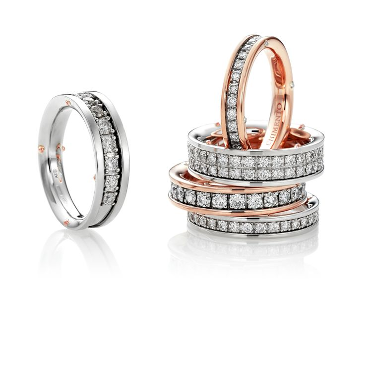 CHIMENTO Aeternitas white&rose gold and diamonds rings.