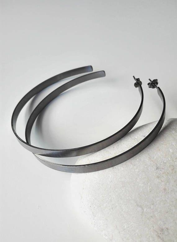 Black Platinum Hoop Earrings Thick Brass Hoops Geometric