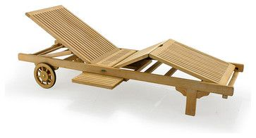 Somerset Teak Outdoor Chaise Lounger contemporary-outdoor-chaise-lounges
