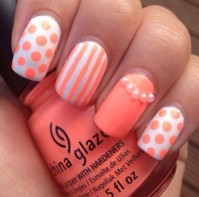 Cute coral nails - 843 Best Nail Art Images On Pinterest Coral Nails, Make Up And