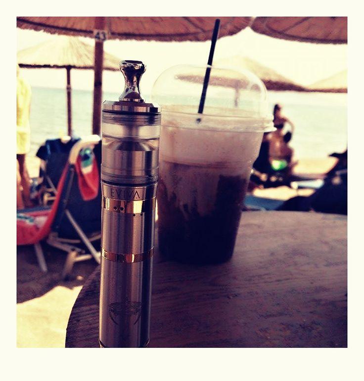 Eviva drink his coffee in Krete island
