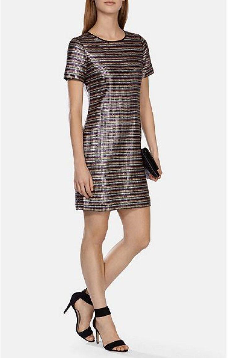 £140.00 - Karen Millen Multicoloured Stripe Sequin Dress