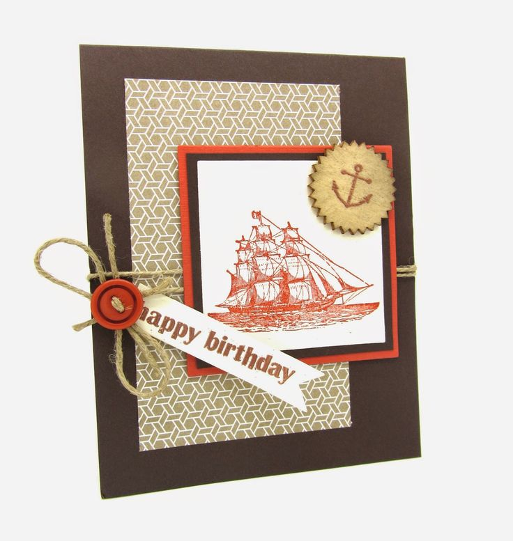 A Masculine Birthday card with the Stampin' Up! Open Sea Stamp. www.pinkblingcrafter.blogspot.com