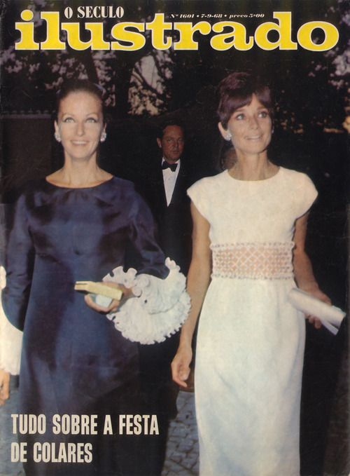 """O Seculo Ilustrado, edition of September 07, 1968. Doris (Yul Brynner's former wife)  photographed with her best friend Audrey Hepburn during their arrival in the famous party offered by Pierre Schlumberger (called """"La Dolce Vita"""") at Quinta do Vinagre (his Summer residence) in Colares, Sintra hills (Portugal), on September 04, 1968."""