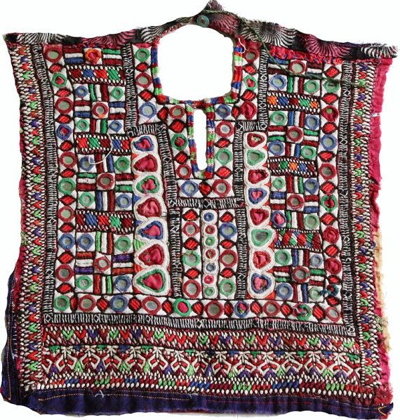 Vintage Handmade Banjara Neck Yoke with mirror work and embroidery. Beautiful…