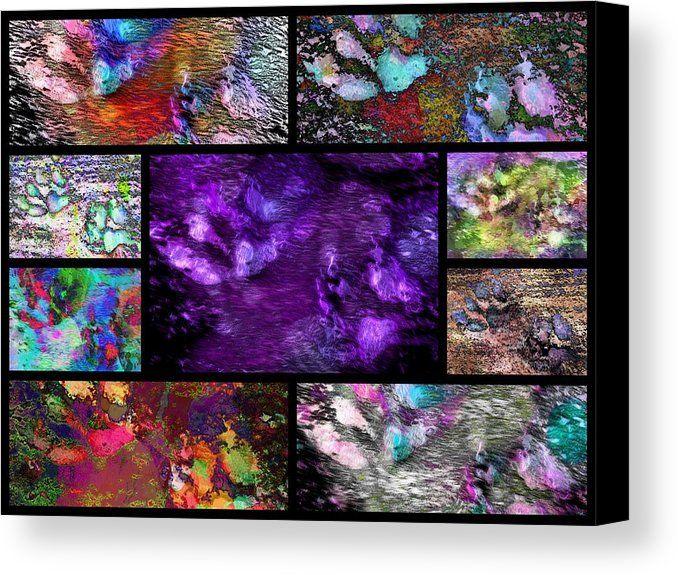 Splat Canvas Print featuring the digital art Crazy Paw Print #barniepawprintdesigns #printforsale #fineart #homedecor #interiordecor Collage by Dorothy Berry-Lound
