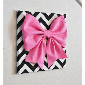 """Large Pink Bow on Black and White Chevron 12 x12"""" Canvas Wall Art- Baby Nursery Wall Decor- Zig Zag"""