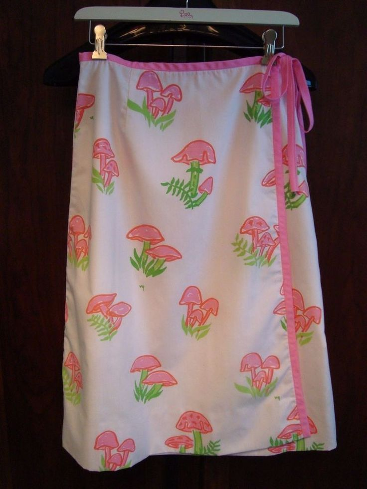 Vintage THE VESTED GENTRESS Skirt 1970s - Pink and Green MUSHROOM Pattern