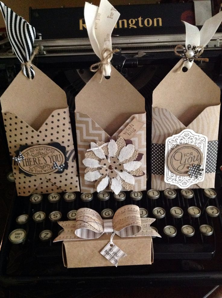 Gift card holders, treat box and bow all made with the Envelope Punch Board