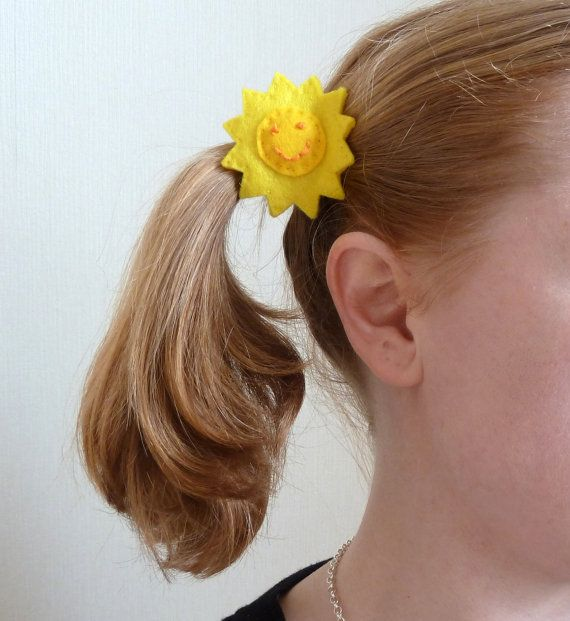 Punky Brewster sun hair ties adult size  yellow sunny