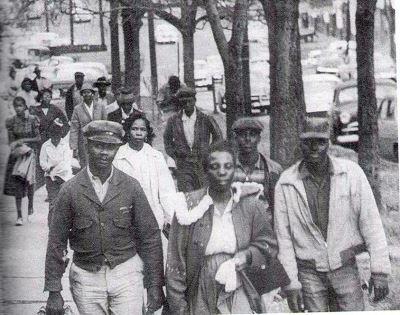 Black residents walking during the Montgomery Bus Boycott