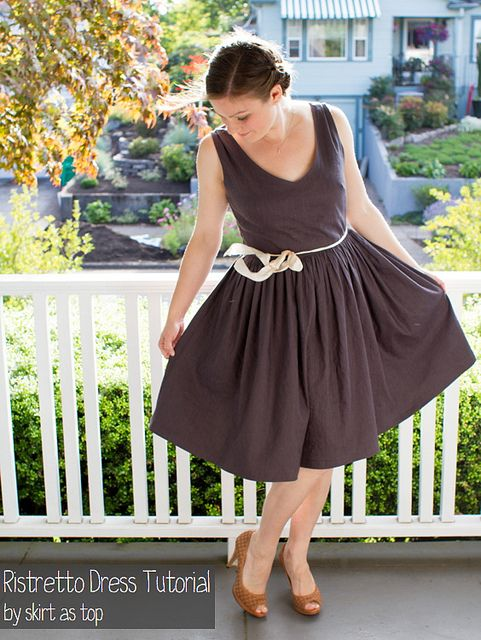 ristretto dress tutorial by skirt_as_top, via Flickr; based on the Washi dress.  I'm going to have to buy that pattern!