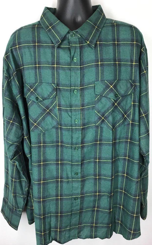 Haband Jack Frost Men's Green Flannel ShirtBig & Tall Size 3XL Plaid Collar  | eBay