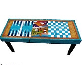 Table/Games table/ wood table/ Checkerboard table/ Backgammon table/ Coffee table/ Table. $445.00, via Etsy.