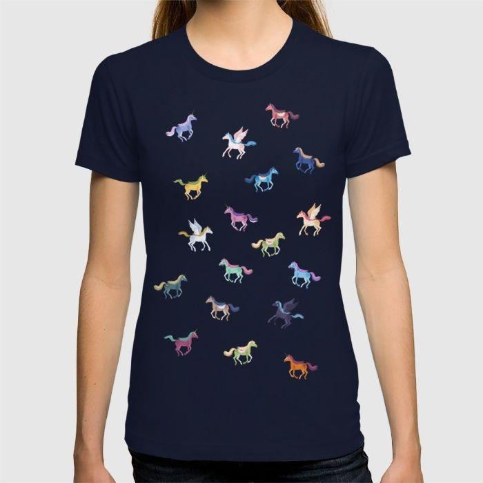 Magic Horses black background T-shirt