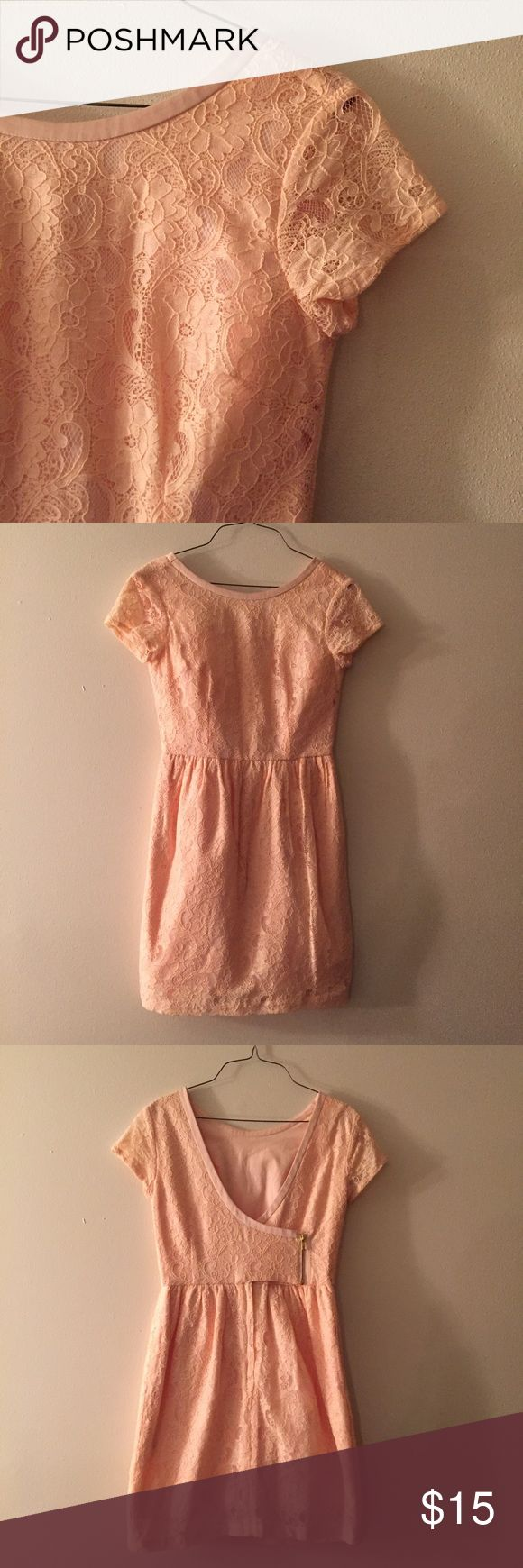 H&m pink a line lace dress with open back Cute and classy pink lace a line dress with deep open back from the Conscious collection at H&m. Like new, only worn once for Easter last year. In excellent condition. Perfect for any upcoming spring and summer event. Beautiful dress, it just doesn't fit me anymore H&M Dresses