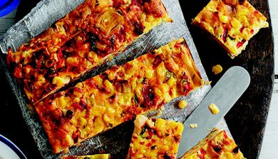 Slimming world: leek sweet corn and roasted pepper squares