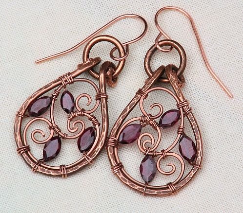 Antiqued Copper Garnet Earrings Handmade Wire Wrapped Red Spirals