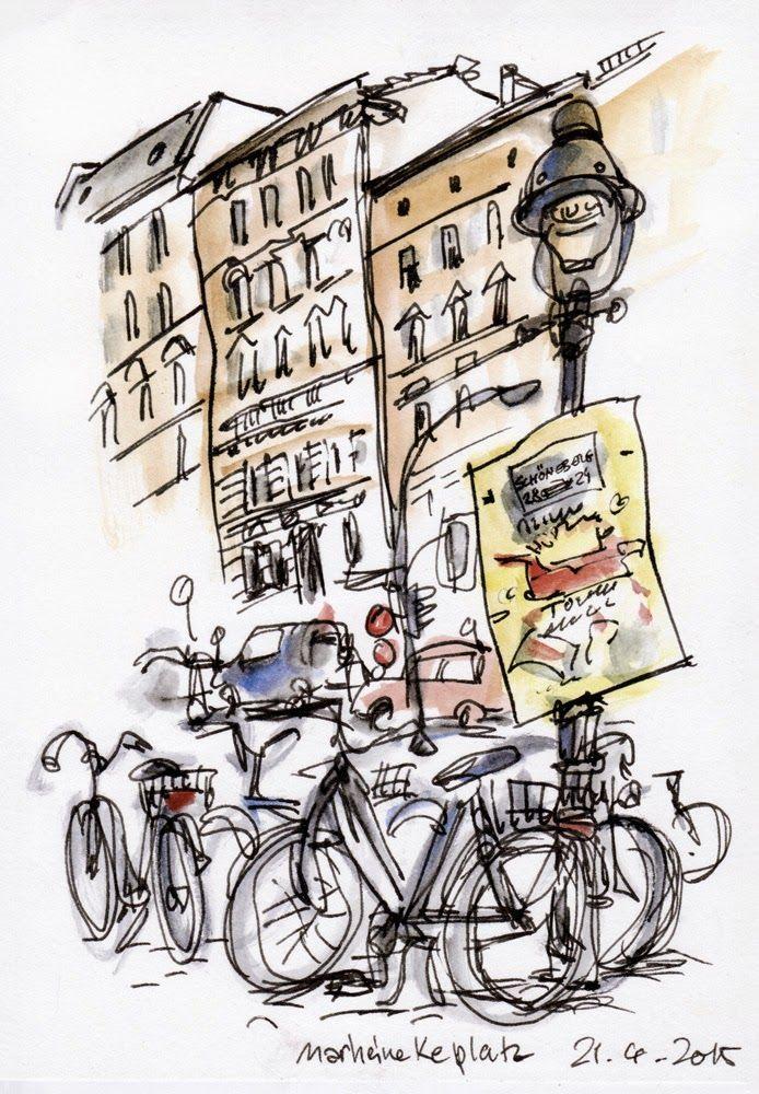 Urban Sketchers Germany Berlin Kreuzberg Bergmannstrasse Stadt Skizzieren Urban Sketchers Skizzenbuch Inspiration