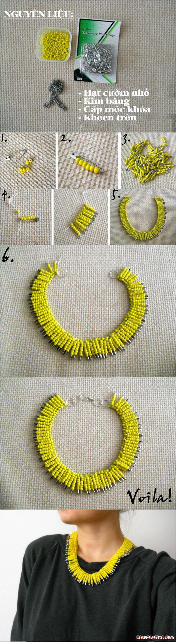 DIY Yellow Necklace Tutorial