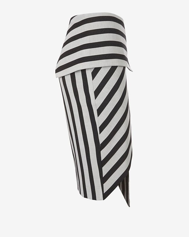 mason by michelle mason Asymmetric Wrap Stripe Skirt | Shop IntermixOnline.com