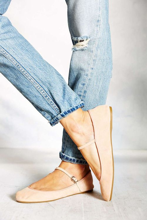 Mary Janes and rolled jeans