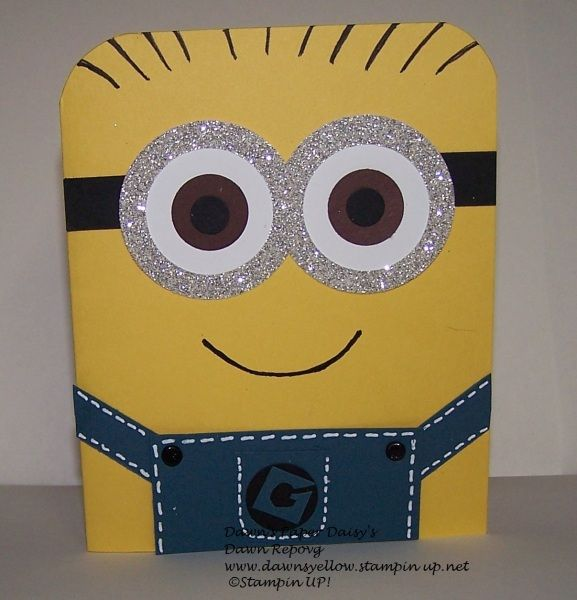 minion punch art with glitter paper