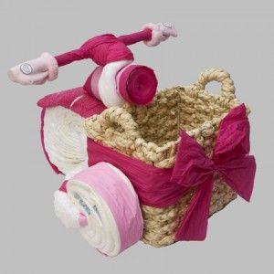 Een Luierfiets met mand zeer tof als cadeau