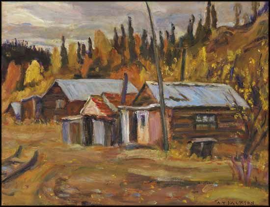A.Y. Jackson - Jack Wade Mining Camp, Alaska 10.5 x 13.5 Oil on board (September 1964)