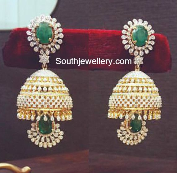 Diamond Emerald Jhumkas- The perfect combo for a Zari saree. Beautiful accompaniment