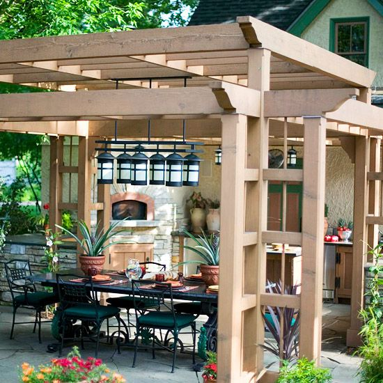 Pretty As a Picture: Backyard Ideas, Open Spaces, Outdoor Kitchens, Gardens, Back Porches, Landscape, Backyard Spaces, Outdoor Spaces, Pergolas Ideas