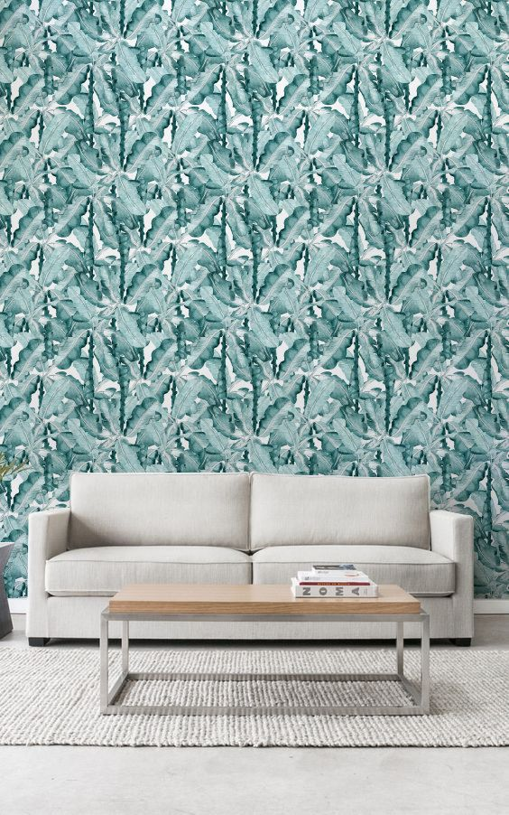 Banana Leaves Removable Wallpaper, Banana Leaves Pattern, Tropical Temporary Wallpaper, Wall Decal, 266