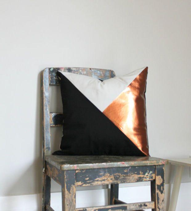 Geometric Black, White & Metallic Copper Pillow Cover, Gorgeous home decor Black and Metallic copper cushion cover. Throw Pillows Cushions